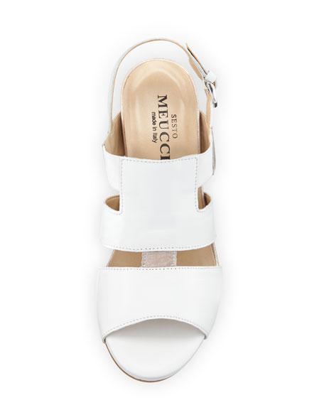 Kaleo Leather Wedge Sandal, White