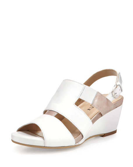 Sesto Meucci Kaleo Leather Wedge Sandal, White