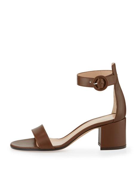 Versilia Leather Chunky-Heel Sandal, Texas