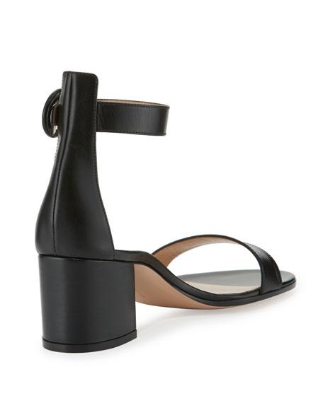 Versilia Leather Chunky-Heel Sandal, Black