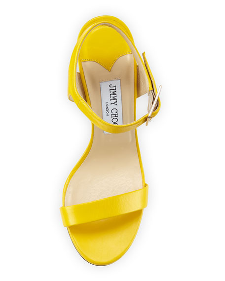 Truce Leather Ankle-Wrap 100mm Sandal, Pop Yellow
