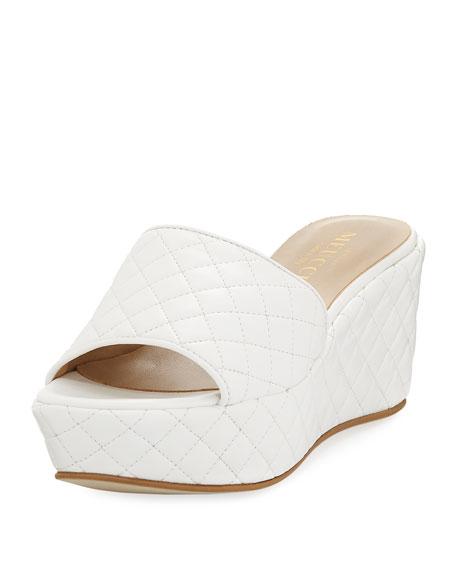 Sesto Meucci Tahnee Quilted Wedge Slide Sandal, White