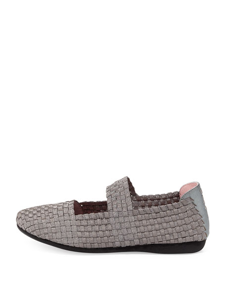 Bela Woven Mary Jane Flat, Pewter