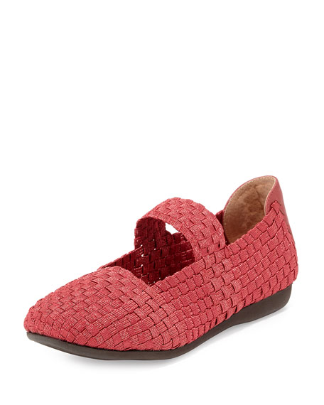 Bela Woven Mary Jane Flat, Red