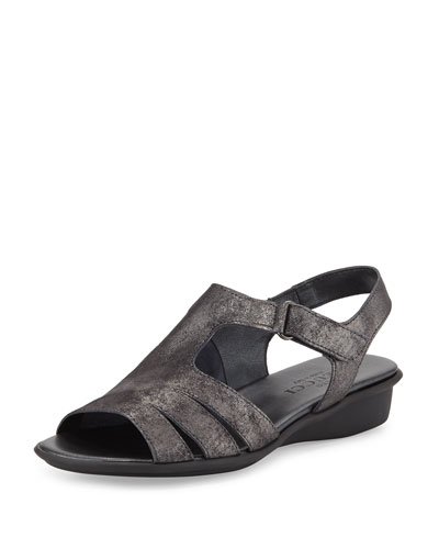 Eileen Leather Demi-Wedge Sandal, Black