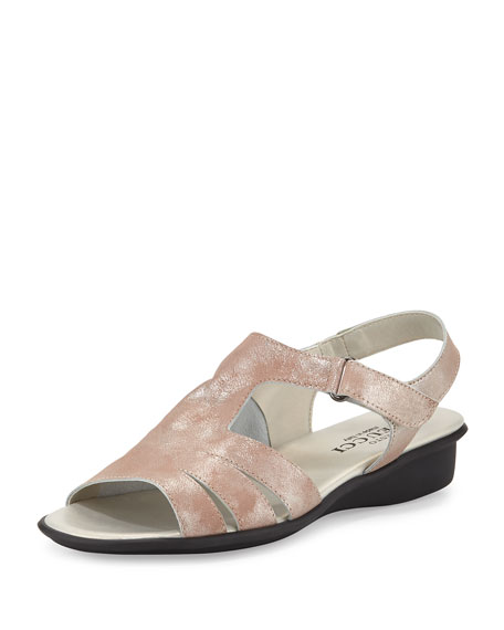 Sesto Meucci Eileen Leather Demi-Wedge Sandal, Sand