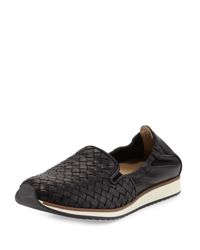 Caiden Woven Leather Slip-On Sneaker, Black