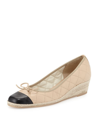 Margie Quilted Cap-Toe Wedge Pump, Pudding/Black