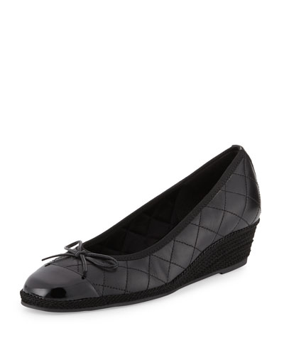 Margie Quilted Cap-Toe Wedge Pump, Black