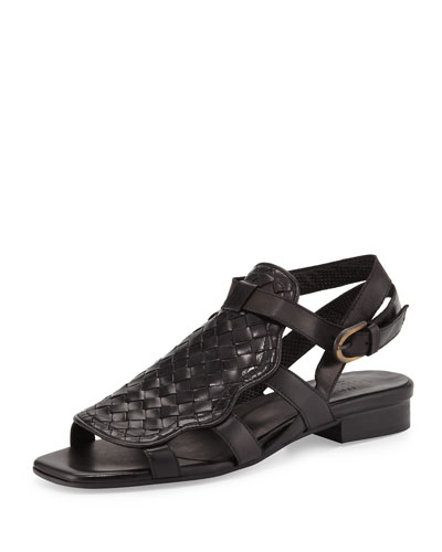Gala Woven Leather Flat Sandal, Black
