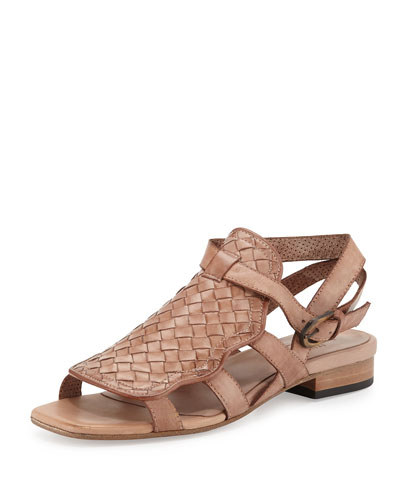 Gala Woven Leather Flat Sandal, Natural