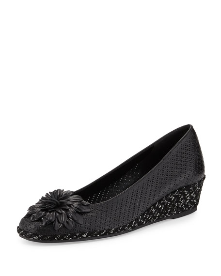 Sesto Meucci Mae Perforated Demi-Wedge Pump, Black