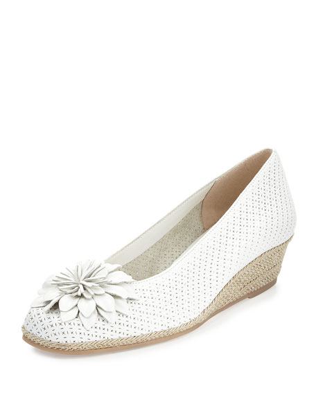 Sesto Meucci Mae Perforated Demi-Wedge Pump, White