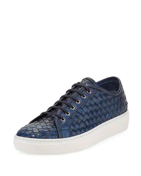 Sesto Meucci Nace Woven Lace-Up Sneaker, Navy