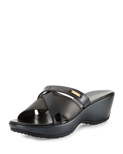 Margate II Crisscross Wedge Sandal, Black