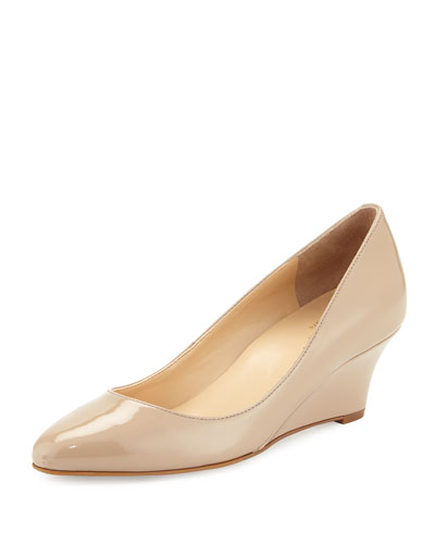 Catalina Patent Demi-Wedge Pump, Maple Sugar