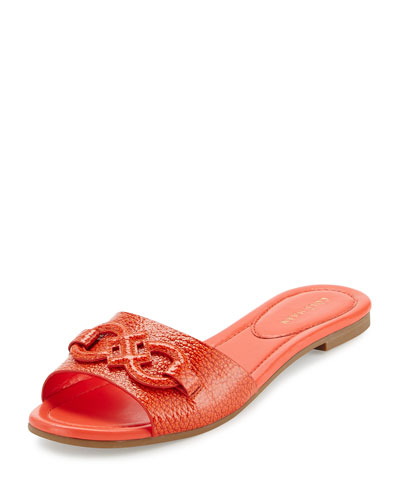 Allegra Logo Patent Slide Sandal, Citrus Red