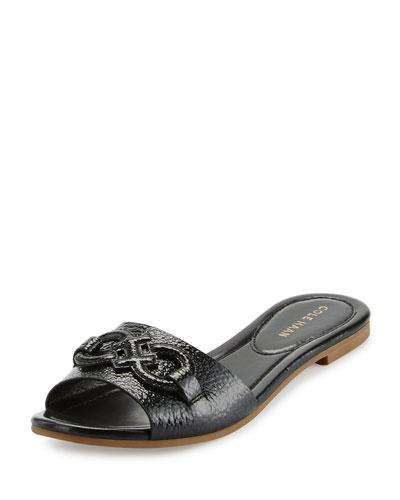 Allegra Logo Patent Slide Sandal, Black