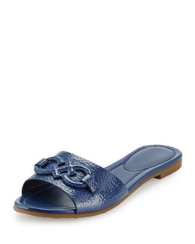 Allegra Logo Patent Slide Sandal, Twilight Blue