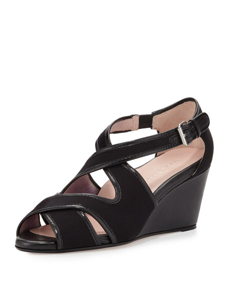 Taryn Rose Kinza Crisscross Wedge Sandal, Black