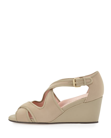 Kinza Crisscross Wedge Sandal, Natural