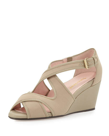 Taryn Rose Kinza Crisscross Wedge Sandal, Natural