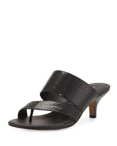 Ruge Asymmetric Snake-Embossed Thong Sandal, Black