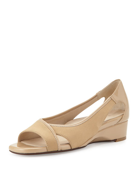 Taryn Rose Klouse Open-Toe Demi-Wedge Sandal, Camel