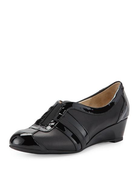 Taryn Rose Paislee Striped Wedge Sneaker, Black