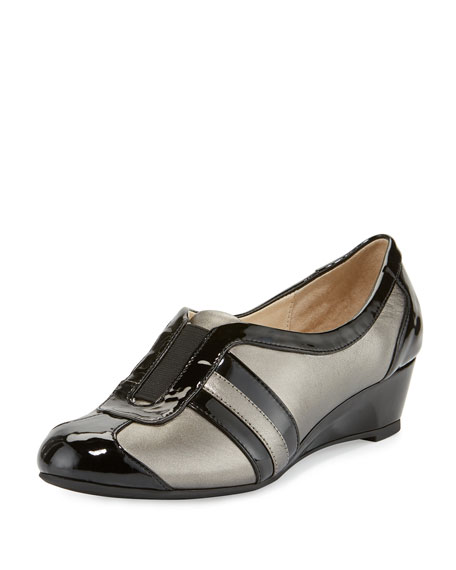 Taryn Rose Paislee Striped Wedge Sneaker, Pewter