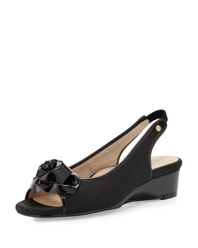 Karlos Flower Demi-Wedge Sandal, Black