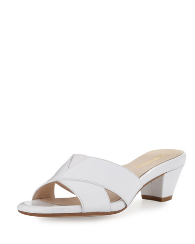 Obert Patent Crisscross Mule Sandal, White