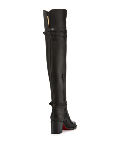 Christian Louboutin Karialta Leather 70mm Red Sole Over-the-Knee ...