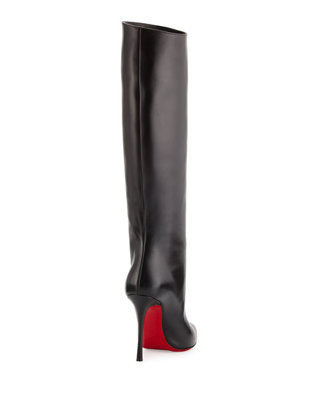 Vitish Leather 100mm Red Sole Knee Boot, Black