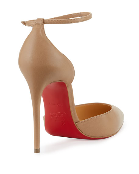 Christian Louboutin Uptown d\u0026#39;Orsay 100mm Red Sole Pump, Nude