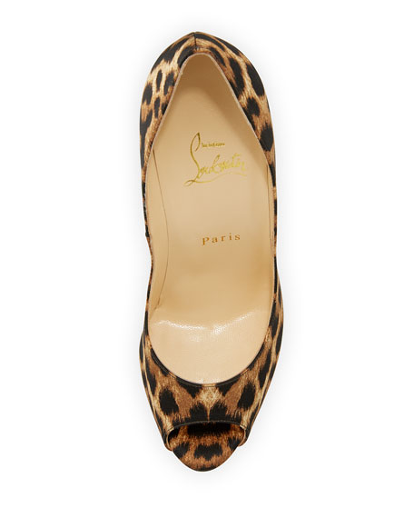 Lady Peep Leopard-Print Red Sole Pump, Brown
