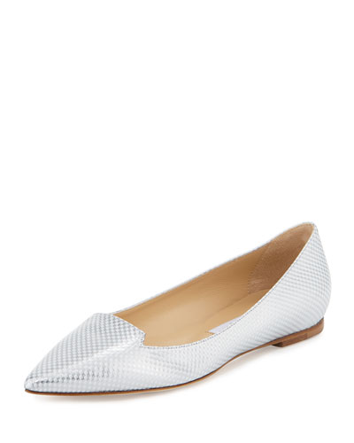 Attila Check Leather Flat, White/Silver