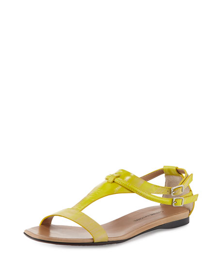 Costume National T-Strap Leather Sandal, Yellow