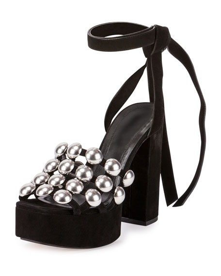 Alexander Wang Alys Studded Platform Sandal, Black