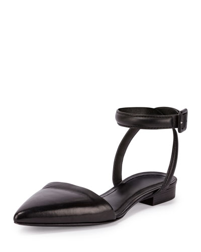 Lauren Leather Ankle-Wrap d'Orsay Flat, Black