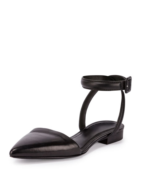 Alexander Wang Lauren Leather Ankle-Wrap d'Orsay Flat, Black