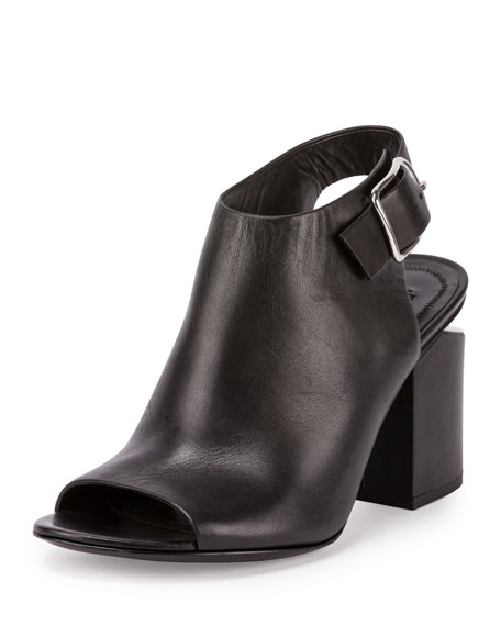 Nadia Leather Open-Toe Bootie, Black