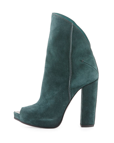 Peep-Toe Suede Ankle Boot, Forest