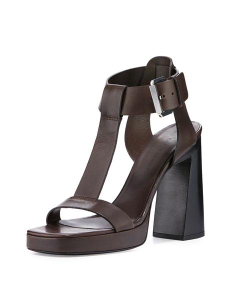 Costume National T-Strap Platform Leather Sandal, Dark Brown