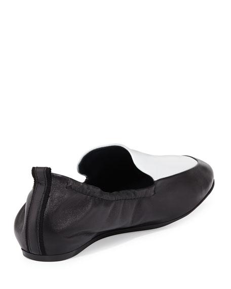 Two-Tone Leather Slipper Flat, Black/White