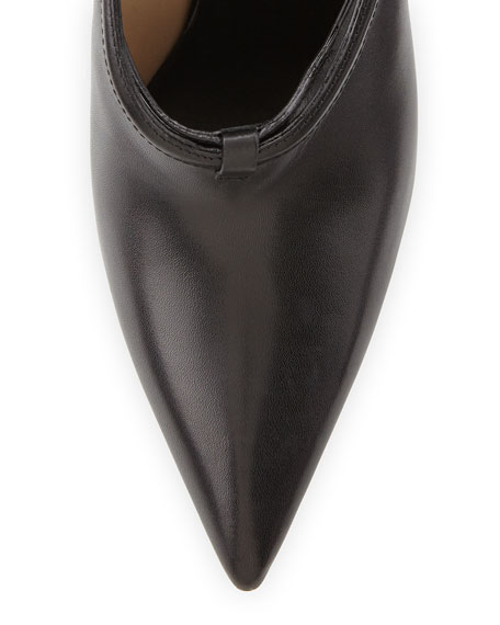 Pointed-Toe Wedge Bootie, Black
