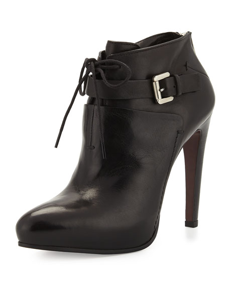 Lace-Up Leather Ankle Boot, Black