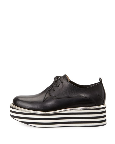 Lace-Up Striped-Flatform Oxford, Black