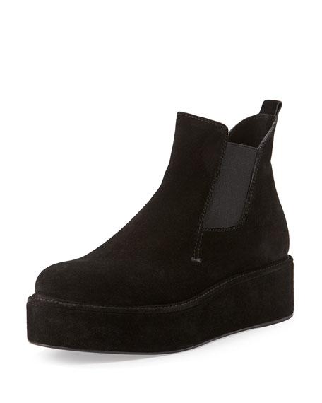 CoSTUME NATIONAL Suede Flatform Ankle Boot, Black