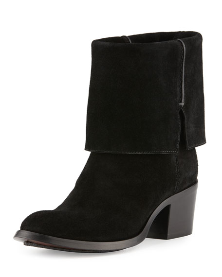 CoSTUME NATIONAL Suede Ankle Boot, Black